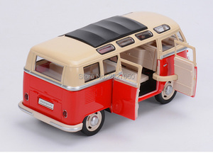 Image 3 - 1:24 Alloy Diecast VW Classical Minibus Pull Back Car toys Mini Van Bus with light and voice toy cars for children