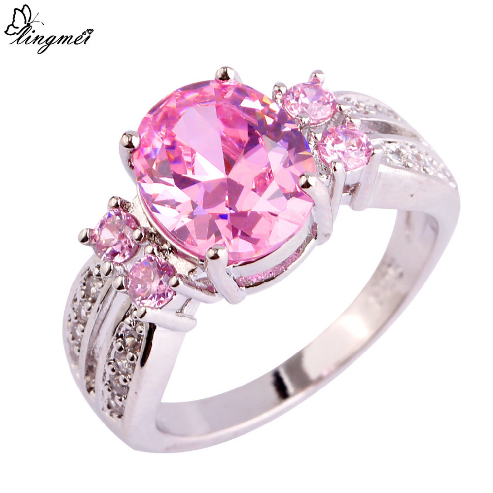 lingmei Nice Fashion Jewelry Pink & White CZ Silver Color Ring Sweet ...