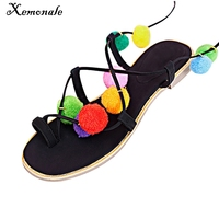 Xemonale Summer New Colorful Flower Ball PomPom Sandals Sandals Flat With Roman Gladiator High Lace Thong