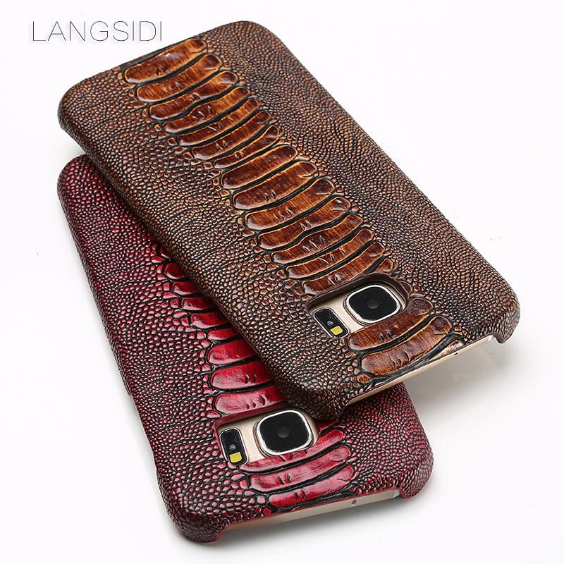 Wangcangli marque coque de téléphone autruche pied grain demi-enveloppé téléphone étui pour samsung S7 bord coque de téléphone à la main traitement personnalisé