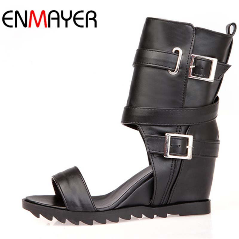 Ankle Boots for Women New Big Size34-43 Open Toe Soft Leather New 2016 Wedges Fashion Summer Boots Black White Motorcycle BootsAnkle Boots for Women New Big Size34-43 Open Toe Soft Leather New 2016 Wedges Fashion Summer Boots Black White Motorcycle Boots