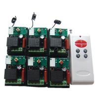 1 drag 6 multi channel wireless remote control switch 220V 6 far distance single independent remote learning motor controller