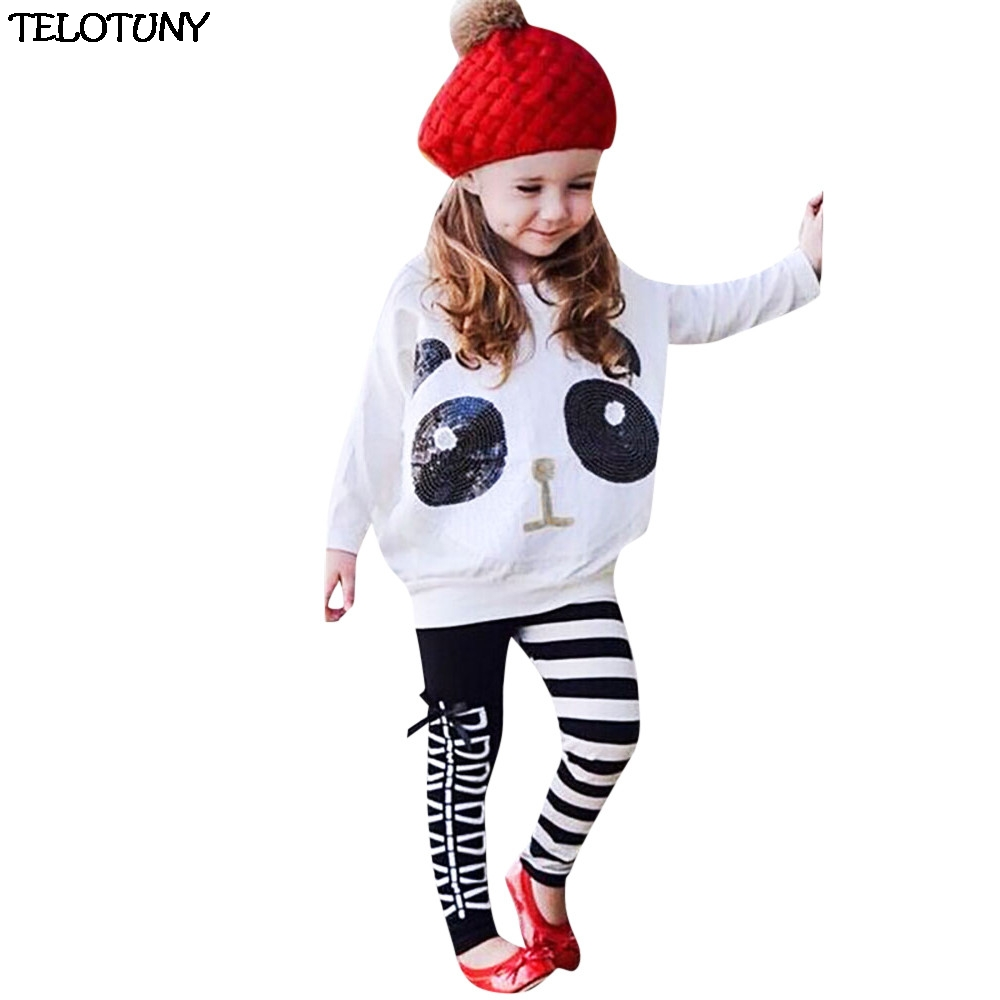 Telotuny 2018 Fashion Toddler Kids Girls Panda Sequins Tops T-shirt+striped Bow Pants Clothes Set Zy30 Mother & Kids