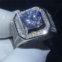 Красивый solitaire мужской кольцо 10 мм AAAAA Циркон Cz 925 пробы серебро обручение обручальное кольцо для мужчин палец ювелирные изделия