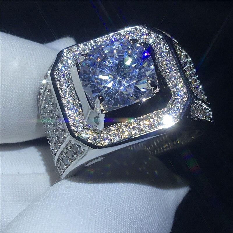 Beau solitaire bague mâle 10mm AAAAA Zircon Cz 925 En argent Sterling Engagement band anneau de mariage pour hommes Doigt Bijoux