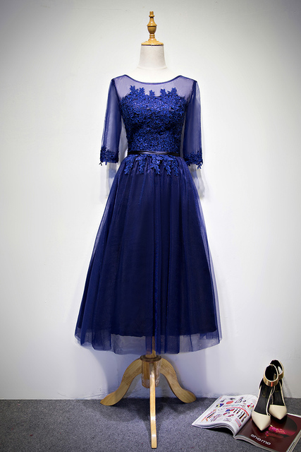 7eef1cedd Azul marino scoop cuello apliques de encaje cortos vestidos de baile con  las mangas escarpadas dress