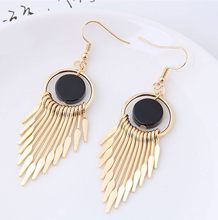 2018 New Delicate and fashionable simple ear nail metal sweet and concise tassel temperament pendant Earrings For Women Jewelry(China)