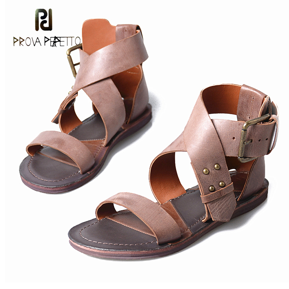 Prova Perfetto genuine leather cross belt buckle women sandals open toe low heel new design leisure