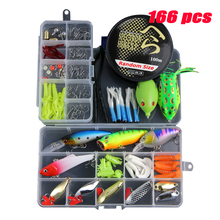 166Pcs Multi Fishing Lures Set Mixed Minnow Spoon Hooks Soft Fish Lure Kit In Box Isca Artificial Bait Pesca Tackle YE69