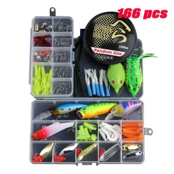 2882f7bad Multi 166 Pcs Iscas De Pesca Definido Minnow Mista Kit Na Caixa Colher  Ganchos Isca de Peixe Macio Isca Artificial Isca de Pesca equipamento de  pesca YE69
