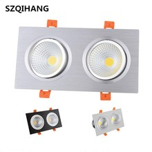 Square Bright Recessed Double LED Dimmable Downlight COB 14W 24W Spot light decoration Ceiling Lamp White/Black/Silver