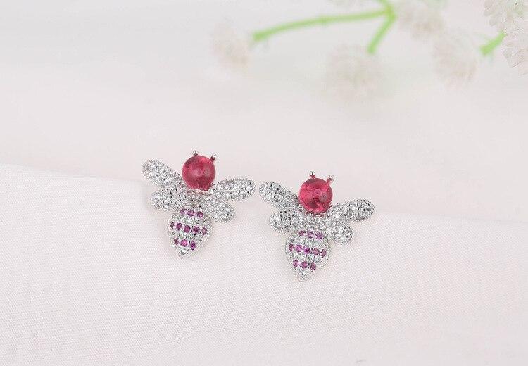 Elegant Lovely Honeybee Shine CZ Zircon 925 Sterling Silver Lady Stud Earrings Original Jewelry For Women Valentine 39 s Day Gifts in Stud Earrings from Jewelry amp Accessories