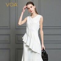 VOA Heavy Silk T Shirt White Women Tops Plus Size 5XL Office Basic V Neck Slim Sexy Irregular Summer Sleeveless Casual B527