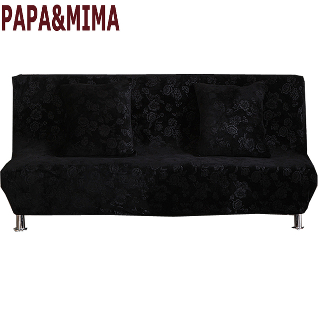 US $36.0 50% OFF|Papa&Mima Luxury black Print Stretch Sectional No armrests  Sofa Covers Polyester fabric Soft Slipcovers Elastic Couch Cover-in Sofa ...