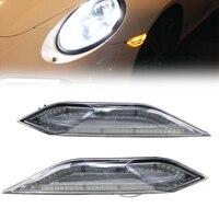 Clear Lens Amber/White LED Side Markers Lights Drl Signals For Porsche Cayenne 11 14LIGHT BAR Amber LED Side Marker Lights