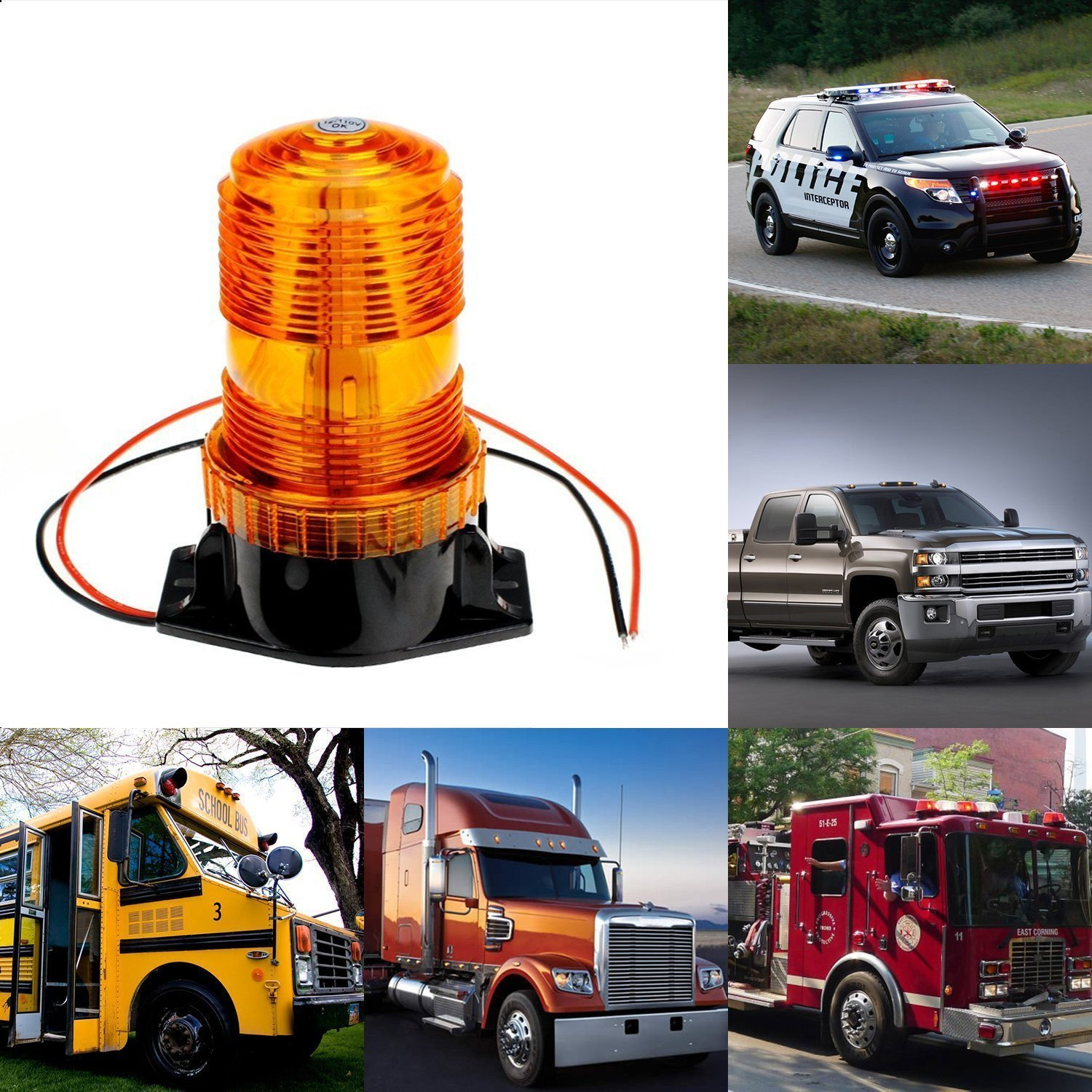 BESTSXMA LED Emergency Warning Light 30 LEDs Amber Strobe Flashing Warning light 15W Waterproof Car Truck Automotive