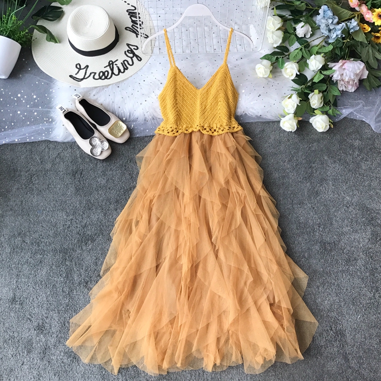 2019 Summer New Sexy Suspender Brassiere Mesh Dress Summer Knitted Stitching Playful Ruffled Gauze Patchwork Vestidos 8