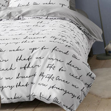 Letter Duvet Cover White Black Gray Comforter/Quilt/Blanket case Twin Full Queen King double single Bedding 220x240 200x200 150(China)