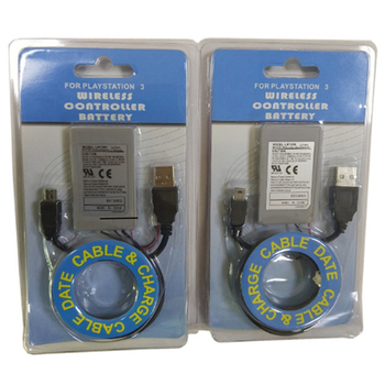 2pcs/Lot 1800mAh Battery for Sony PlayStation3 PS3 Wireless Controller 3.7V Rechargeable Li-Ion Batteries+Charger Cable original rechargeable li ion battery pack lip1472 for sony ps3 dualshock 3 wireless controller replacement part new edition