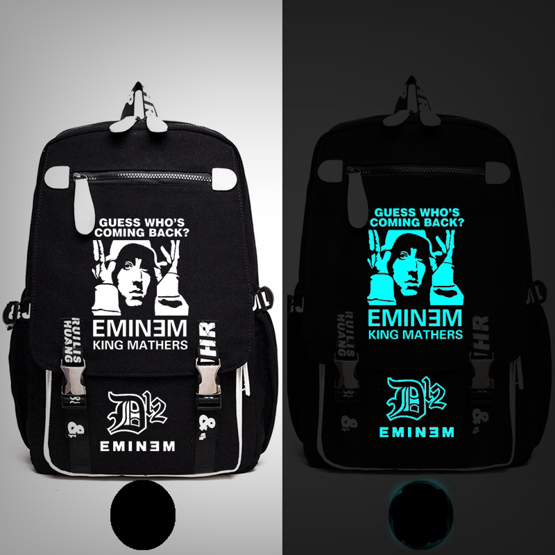 Rap God Eminem Bad Meets Evil I am not Afraid Backpack Messenger Luminous Bag School Travel Bags Anime Gift new 2016 high quality rap god eminem bad meets evil printing tactical backpack school bags for teenagers mochila feminina