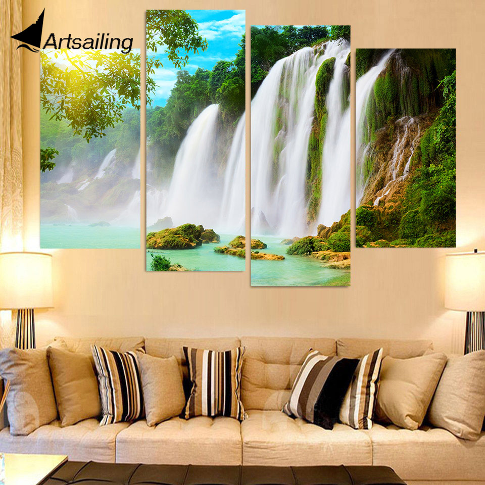 4 Piece Canvas Art Canvas Painting Waterfall Spray HD Printed Wall ...