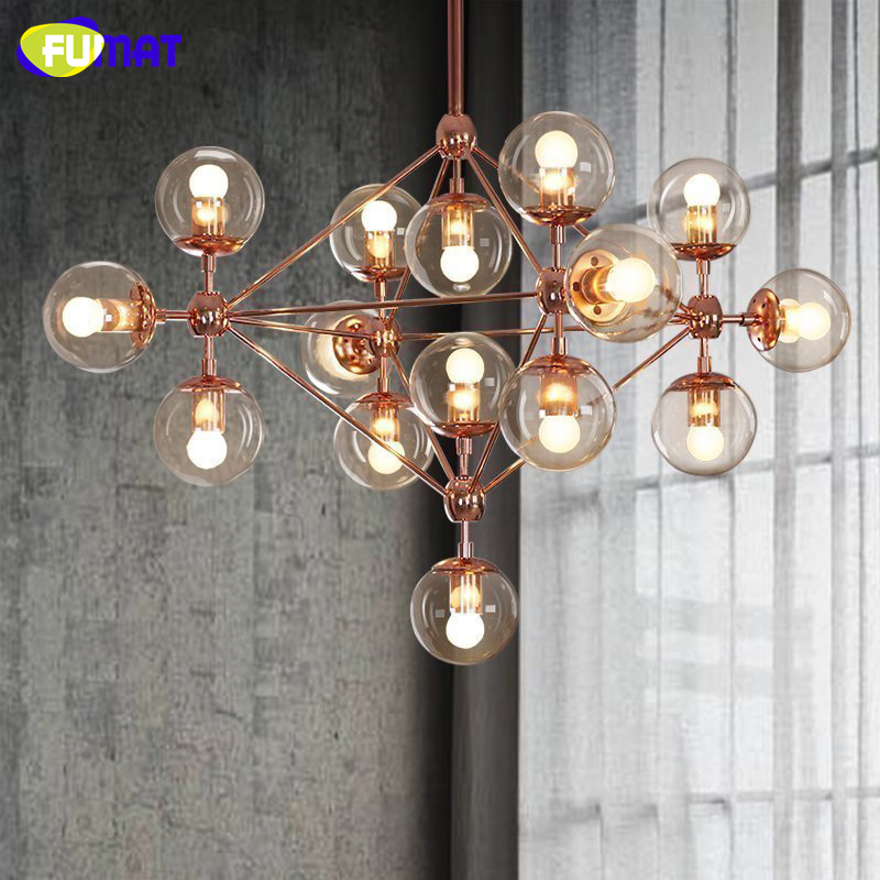 FUMAT Glass Ball Chandelier Modern Nordic Luminaire Lustre Living Room Light Rose Gold Body Glass Chandeliers LED