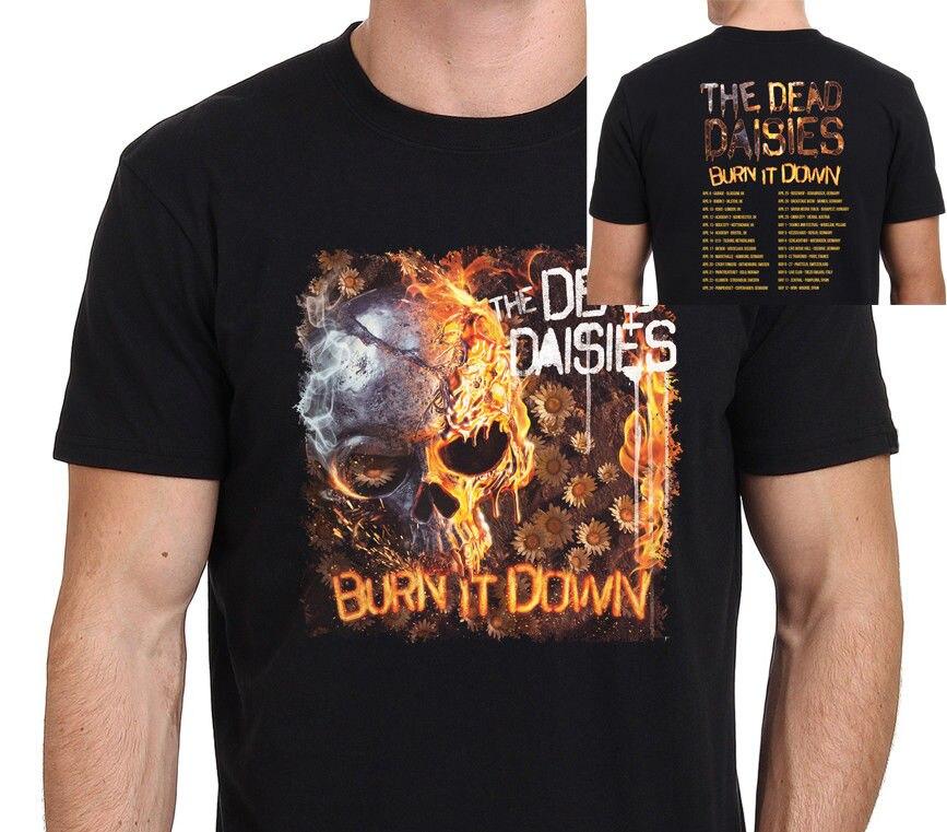 THE DEAD DAISIES Burn It Down Tour 2018 T-Shirt Mens Black Size:S-3XL O Neck Short Sleeves Boy Cotton Men O Neck T Shirt
