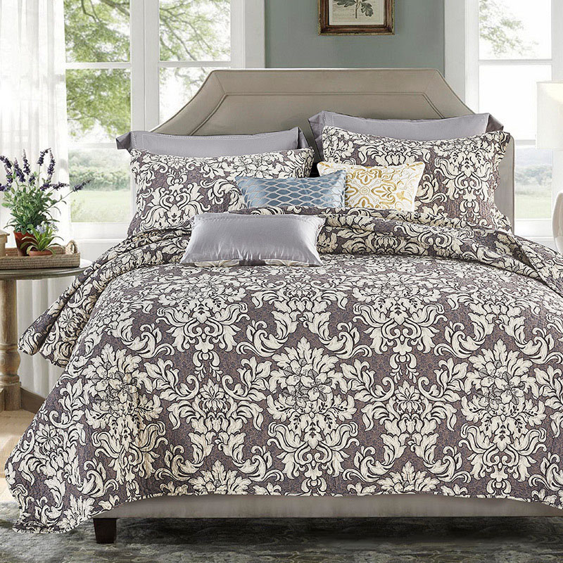 CHAUSUB Vintage Printed Quilt Set 3PCS Coverlet Set Washed Cotton Quilts Sheet Quilted Bedspread Bed Cover Pillowcase King SizeCHAUSUB Vintage Printed Quilt Set 3PCS Coverlet Set Washed Cotton Quilts Sheet Quilted Bedspread Bed Cover Pillowcase King Size
