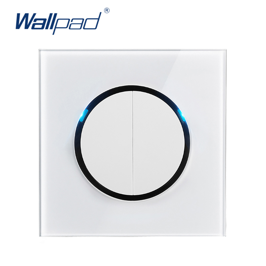 Wallpad L6 LED 2 Gang 1 Way Random Click Push Button Wall Light Switch With LED Indicator White Tempered Glass PanelWallpad L6 LED 2 Gang 1 Way Random Click Push Button Wall Light Switch With LED Indicator White Tempered Glass Panel