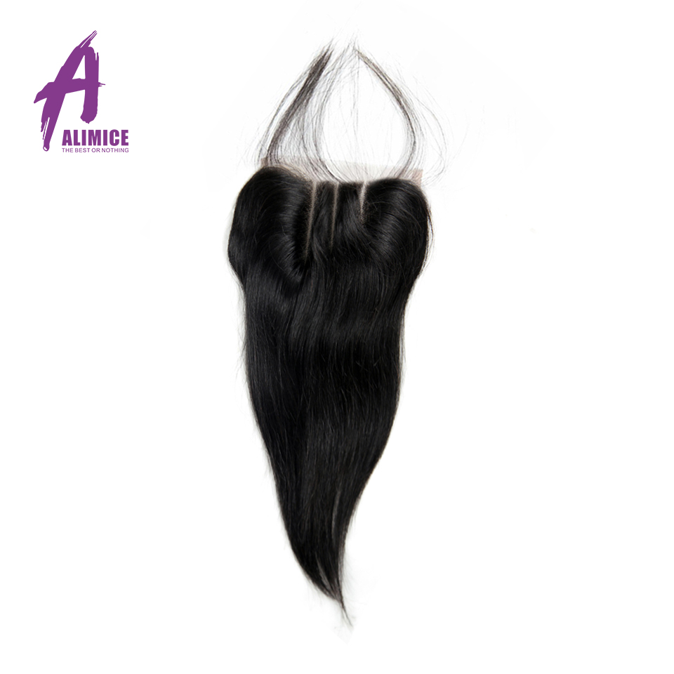 ALIMICE Indian Straight Hair Lace Closure 100% Human Hair Closure 8-24Inch Natural Color Hair Extensions Remy Hair Weaves