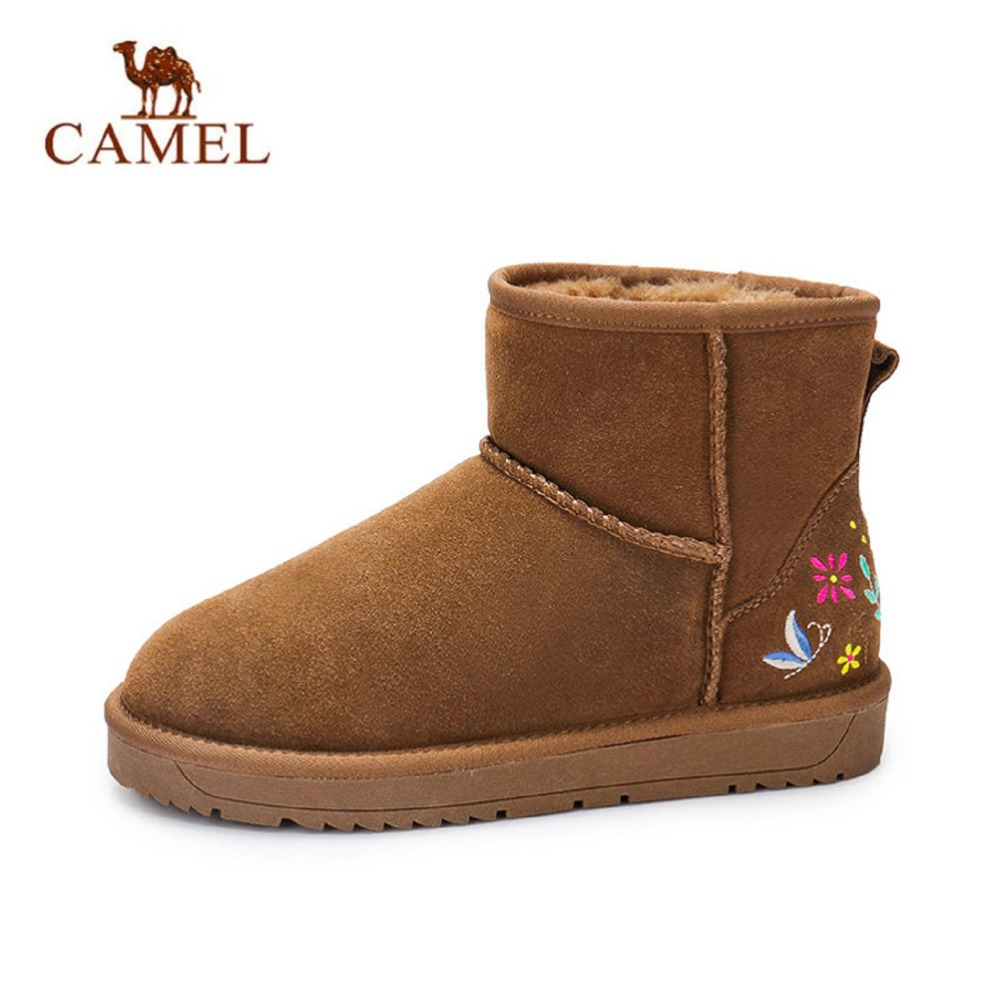 купить Camel cow suede leather warm women short winter ankle snow boots for woman winter shoes grey brown non-slip sole A74275608 недорого