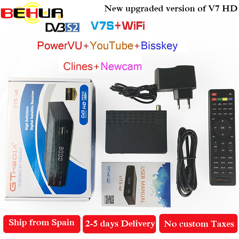 10pcs Freesat V7S HD DVB S2 Satellite Receiver Full 1080P HD Receptor Support PowerVu YouTube Biss