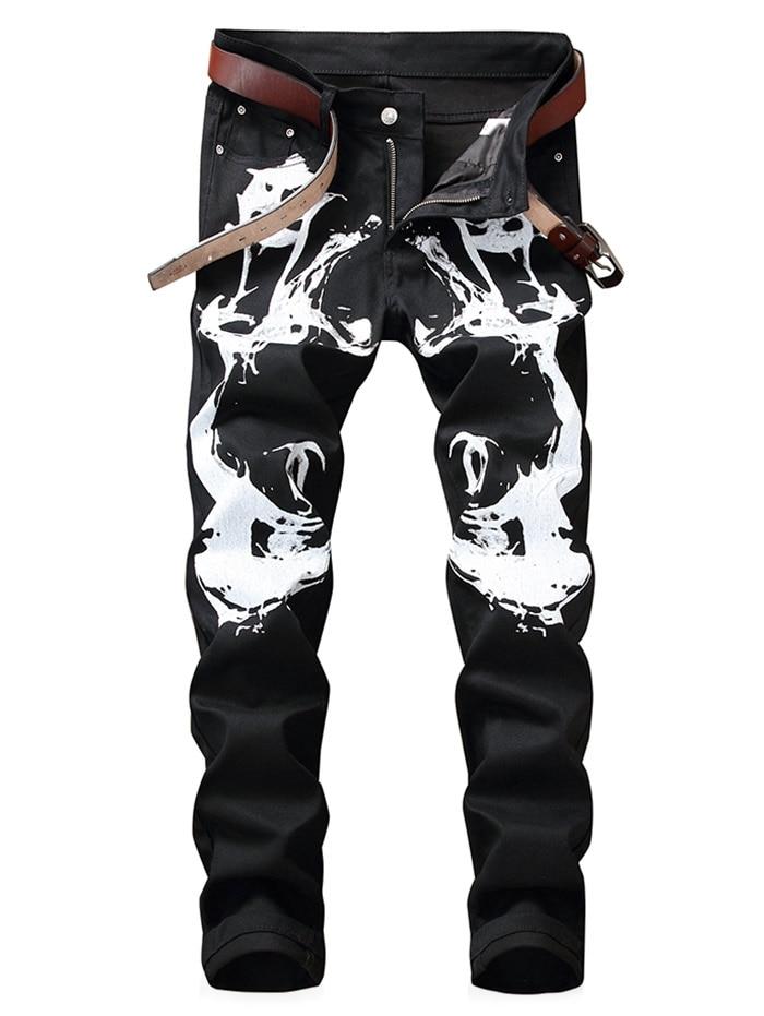 Новинка 2019 года для мужчин s брендовые джинсы модные повседневное Slim fit прямые Высокие Стрейч средства ухода за кожей стоп печатных Джинс
