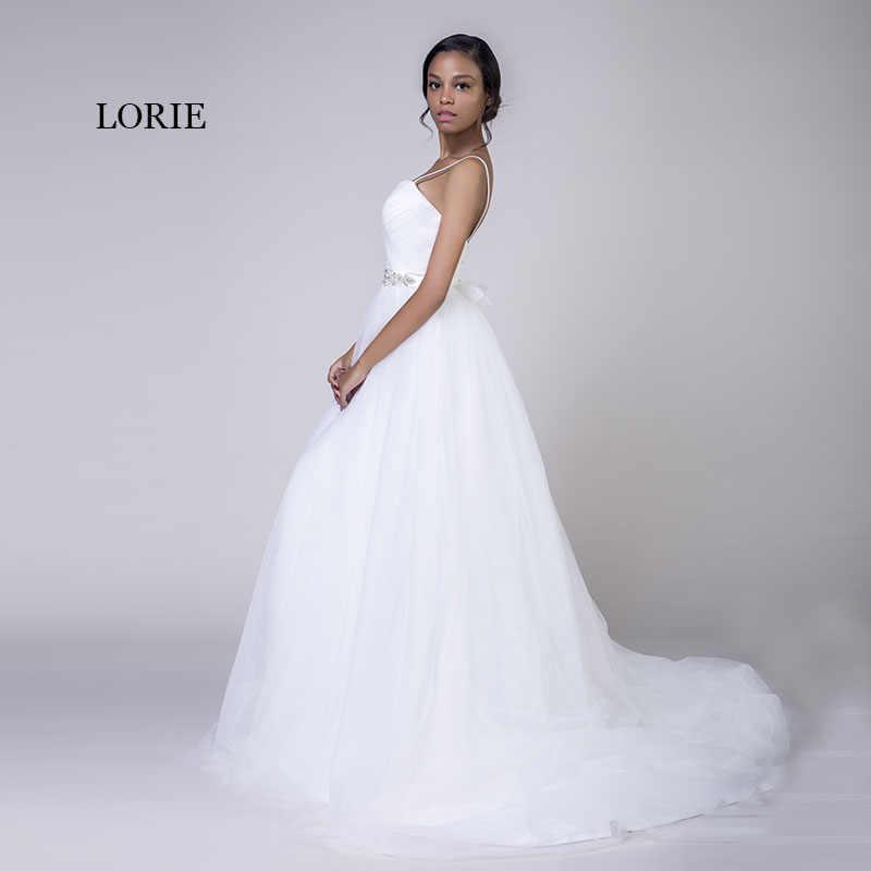 LORIE Plus Size Vestidos de Casamento Spaghetti Strap Branco Tulle Frisados Pedras Caixilhos Um Querido Line Nupcial Vestidos de casamento de Praia