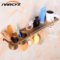Multi-function Bathroom Hair Dryer Holder Wall Mounted Rack Antique Copper Shelf Storage Organizer Hairdryer Holder 9049K