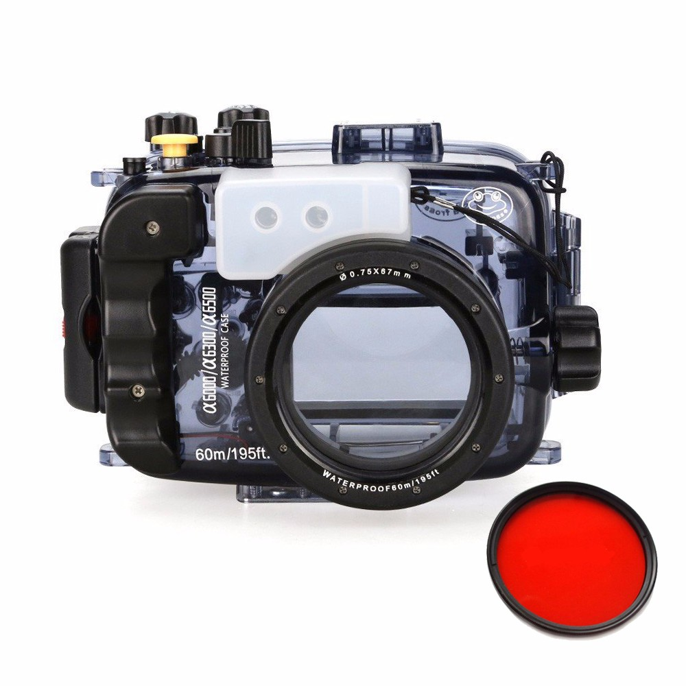 SeaFrogs 60m/195ft Waterproof Underwater Camera Housing Case for A6000 A6300 A6500 Used With 16-50mm Lens+MEIKON Red Filter 67mm