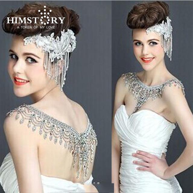 Nueva de lujo de la novia de la boda grande de cristal de encaje de la cadena nupcial princesa plataforma Prom V hombro joyería de cristales para collar
