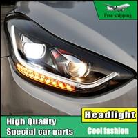 Car Styling Head Lamp Case For Hyundai ELANTRA 2012 2015 Headlights LED Headlight DRL Flowing Turn