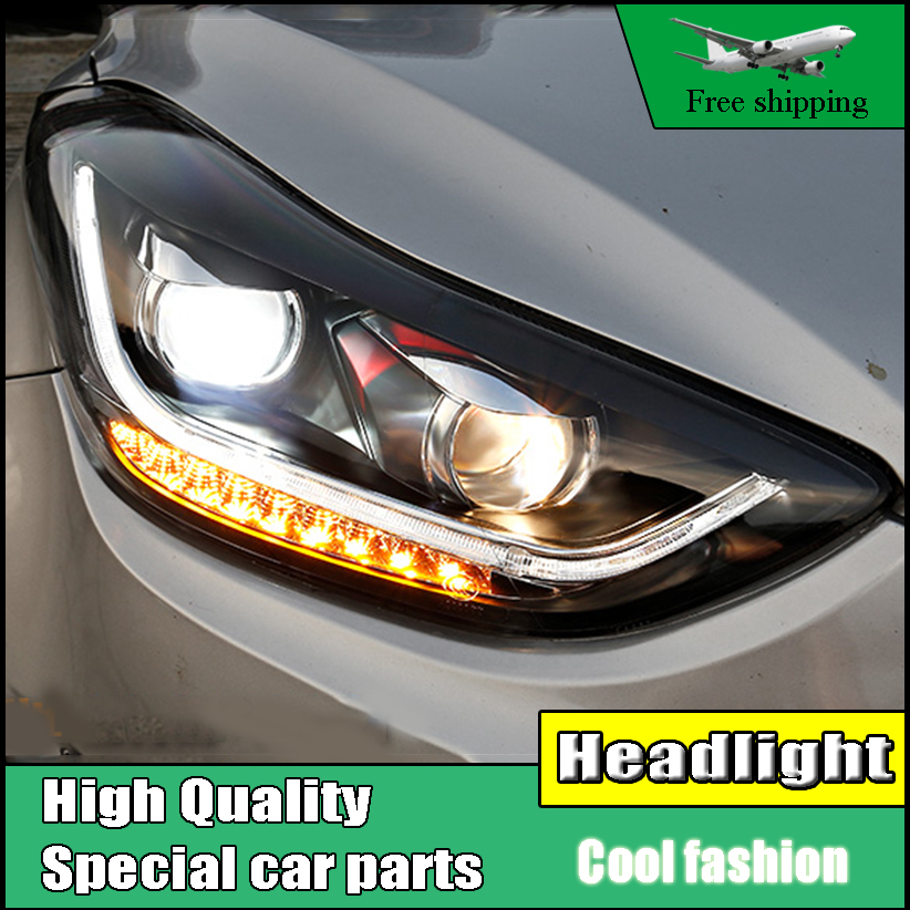 Car Styling Head Lamp Case For Hyundai ELANTRA 2012-2015 Headlights LED Headlight DRL Flowing Turn Signal , Low Beam With HID car accessories luxury sports door wrist bowl stick handle decorative exterior smooth paste for hyundai elantra 2012 2016