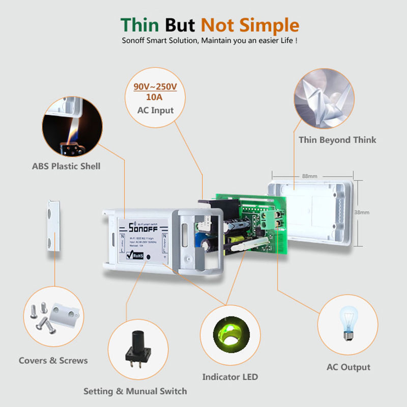 Interruptores e Relés itead sonoff interruptor wifi smart Work Voltage : Ac100-250v 50/60hz