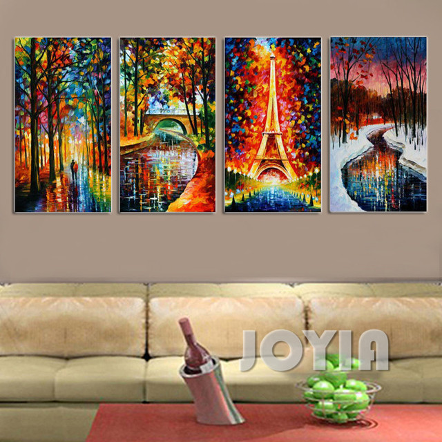 4 panel abstract landscape textured paintings eiffel tower for Texture painting on canvas
