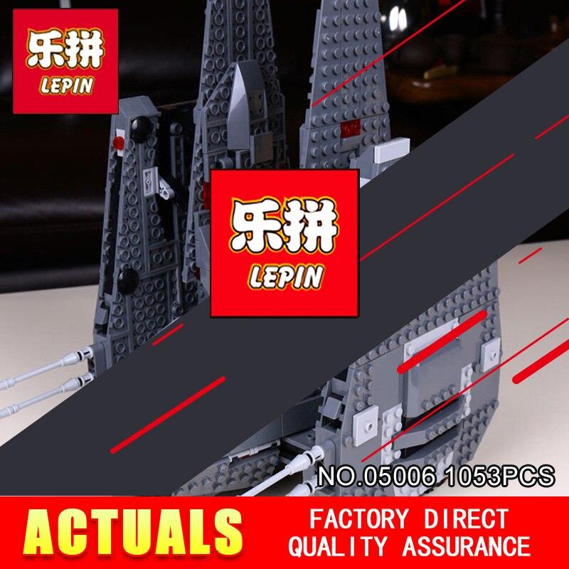 LEPIN 05006 1053Pcs STAR Toy The Force Awakens Kylo Ren Command Shuttle Model Building Kits Blocks Bricks 75104 Boy Gift WARS цена
