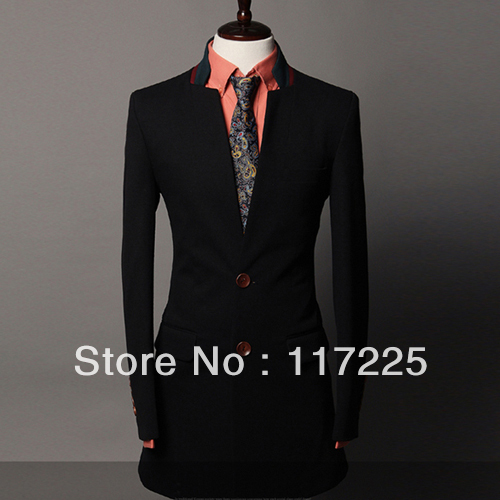 Free shipping mens long suit jacket autumn and winter casual wear ...