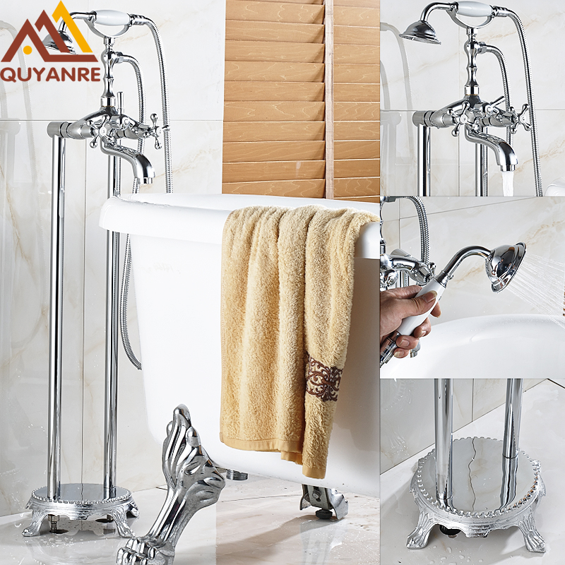 Chrome Floor Stand Bath & Shower Phone Type Faucet Dual Handle Dual Holes with Tub Filler Mixer Hot Cold Telephone Style Faucet