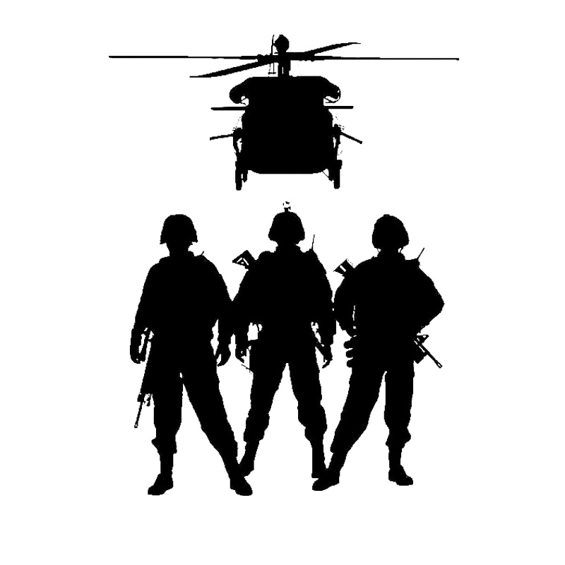 Military Vinyl Wall Sticker Army Soldier Helicopter Marine