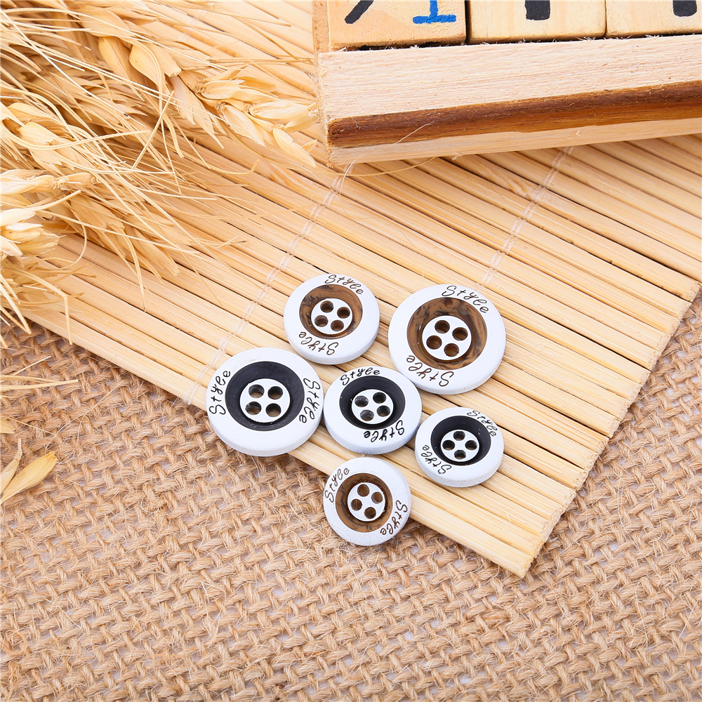 New 100pcs Color Printed Wooden Buttons 11 5 12 5 15MM Round Resin Suit Buttons For Clothing Decoratives Wholesale 2019 in Buttons from Home Garden