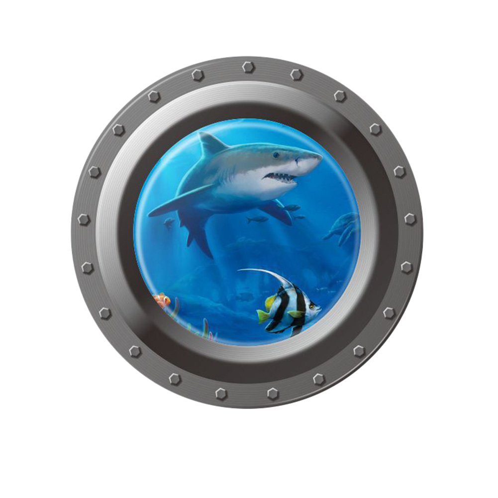 3D Ocean View Window Submarine Wall Sticker /Home Decals Porthole Graphics Sea Portal Peel Wallpaper/ Sea Cruise Kids Room Decor