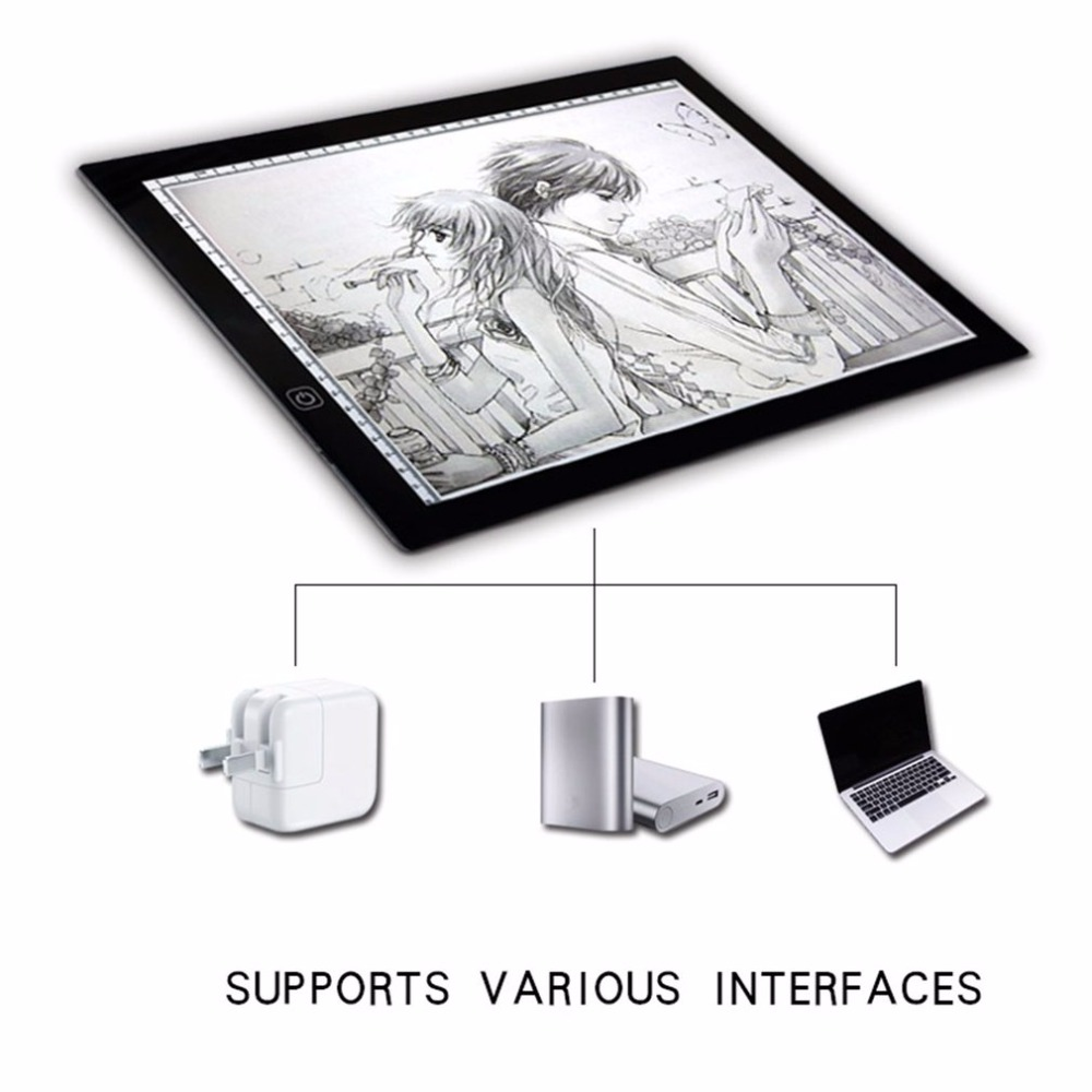 Portable A3 lumière LED Pad boîte dessin copie conseil dessin graphique tablette Table Pad panneau Pad copie conseil avec contrôle de la luminosité