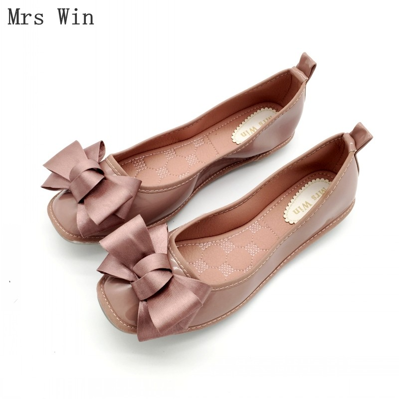 mrs win autumn women shoes square toe ballet flats females soft work driving slip on woman s flats ladies single shoes plus size 2018 Newest Shoes Women Ballet Flats Slip-On Spring Autumn Woman Single Shoes Ladies Soft Work Shoes Females Footwear Black Gray