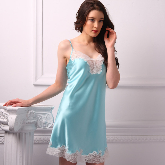 Heavy silk sleepwear mulberry silk sexy spaghetti strap lace decoration silk nightgown 39004
